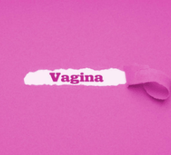 Vagina written on pink torn paper
